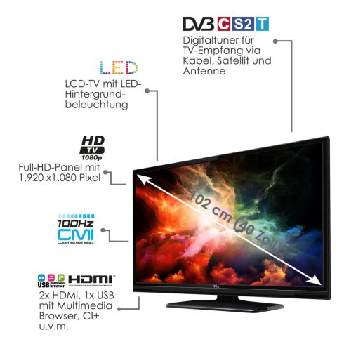 tcl l40e3005f led tv fernseher 40 zoll 102 cm full hd dvb t c s2 hdmi usb ci ebay. Black Bedroom Furniture Sets. Home Design Ideas